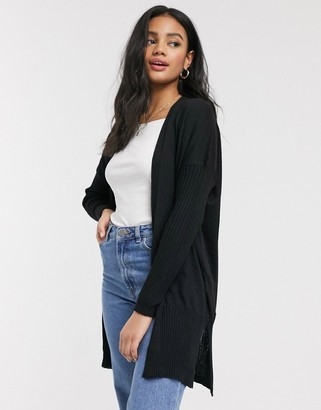 Asos Design DESIGN long line fine knit cardi in recycled blend-Black