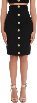 Balmain High Waist Grain de Poudre Wool Pencil Skirt