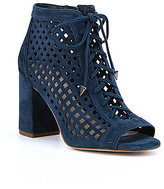 Gianni Bini Bennie Laser-Cut Suede Lace-Up Booties