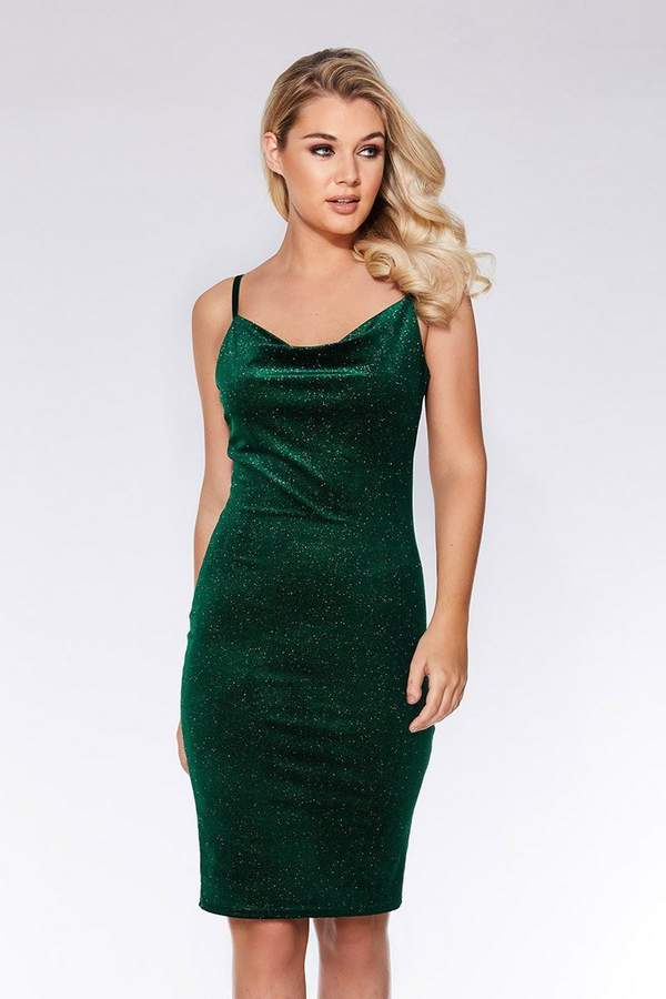 Quiz Bottle Green Velvet Glitter Midi Dress