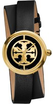 Tory Burch Women's 'Reva' Logo Dial Double Wrap Leather Strap Watch, 28Mm