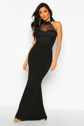 boohoo Dobby Mesh High Neck Maxi Bridesmaid Dress