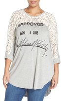 Melissa McCarthy Plus Size Women's Graphic Jersey & Lace Top