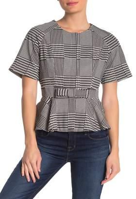 Gracia Waist Ribbon Peplum Checkered Blouse