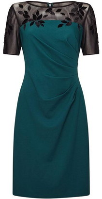 Adrianna Papell Velvet Applique Crepe Sheath