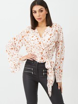 boohoo Tie Front Wrap Deep V-Neck Blouse - Peach
