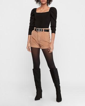 Express Super High Waisted Corduroy Trouser Shorts