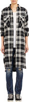 R 13 Women's Plaid Long Shirt-BLACK