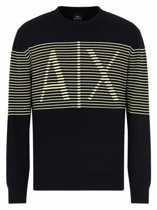 A|X Armani Exchange Men's Horizontal Stripe Logo Crewneck Knit Pullover Sweater