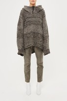 Topshop **Mani Oversized Contrast Knit Hoodie by Unique