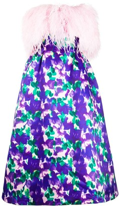 Richard Quinn Feather-Trimmed Strapless Floral Dress