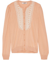 Valentino Beaded wool, silk and cashmere-blend cardigan