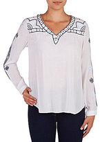 Peter Nygard Embroidered Peasant Long Sleeve Top