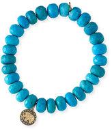 Sydney Evan 8mm Dark Turquoise Beaded Bracelet w/ 14k Diamond Elephant Charm