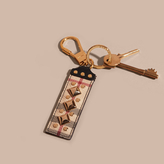Burberry Riveted Leather Horseferry Check Key Charm