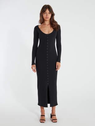 4SI3NNA the Label Vanessa Long Sleeve Rib Midi Dress