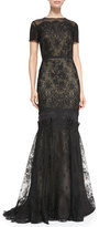 Carolina Herrera Short-Sleeve Tiered Lace Evening Gown