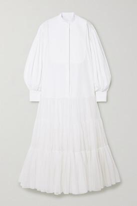 Valentino Cotton-poplin, Pique And Silk-organza Shirt Dress - White