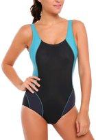 Ekouaer Sexy One Piece Swimwear for Women Splice Training Swimsuits Beach Wear