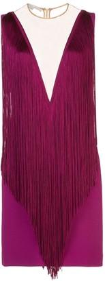 Stella McCartney Plunge-Neck Fringed Mini-Dress