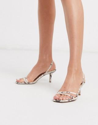 Steve Madden Loft strappy heeled sandals in beige snake