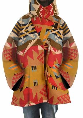 TYQQU Women's Winter Mid-Length Hooded Coat Elegant Long Coat Double Breasted Belted Woolen Jacket Casual Coat Light Grey L
