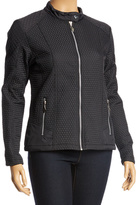 Black Zip-Front Quilted Puffer Jacket - Plus