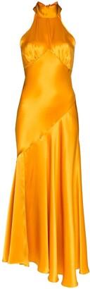 De La Vali Vivienne halterneck silk-satin dress