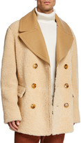 Burberry Men's Pickwell Shearling Double-Breasted Coat