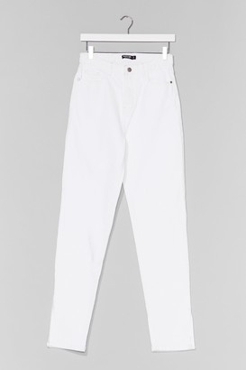 Nasty Gal Womens Split Hem Straight Jean - Cream - 6