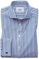 Charles Tyrwhitt Extra Slim Fit Spread Collar Non-Iron Bengal Stripe Blue Cotton Dress Casual Shirt French Cuff Size 15/35
