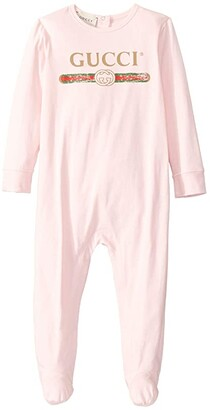 Gucci Kids Vintage Long Sleeve All-In-One One-Piece (Infant) (Pink Multi) Girl's Jumpsuit & Rompers One Piece