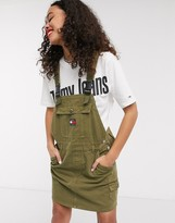 Tommy Jeans dungaree dress in green
