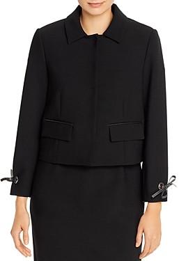 Paule Ka Tie-Cuff Snap-Front Twill Jacket