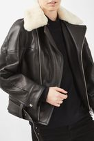 Boutique '80s leather aviator jacket