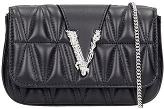 Versace Shoulder Bag In Black Leather
