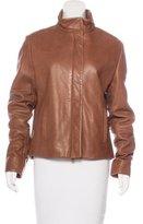 Burberry Leather Nova Check-Lined Jacket