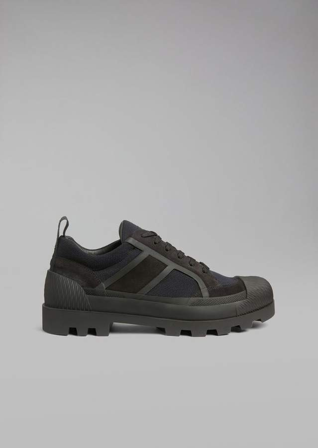Giorgio Armani Sneaker In Mesh With Suede Inlays And Rubber Sole