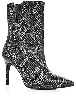 Charles David Women's Dashing High-Heeled Snake Print Ankle Booties