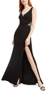 City Studios Juniors' Embellished-Applique Slit Gown