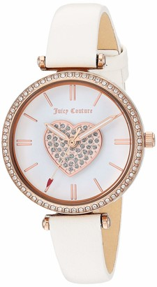 Juicy Couture Black Label Women's Swarovski Crystal Accented Rose Gold-Tone and White Leather Strap Watch JC/1268RGWT