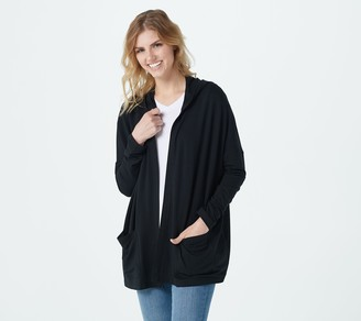 Isaac Mizrahi Live! SOHO French Terry Open Front Hooded Cardigan