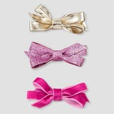 Cat & Jack Girls' 3-Piece Bow Clips Cat & Jack - Pink/Gold