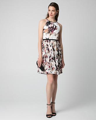 Le Château Floral Print Chiffon Halter Dress