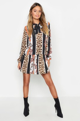 boohoo Leopard Stripe Pussy Bow Smock Dress
