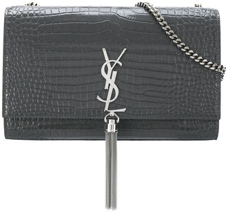 Saint Laurent croco-embossed shoulder bag