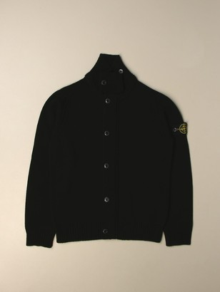Stone Island Junior Cardigan In Wool And Cashmere Blend