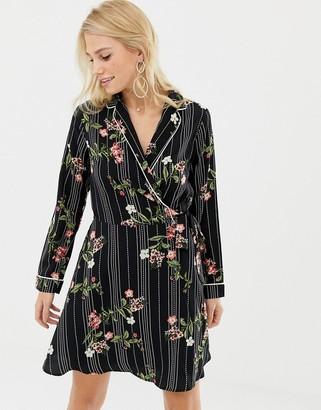 Liquorish wrap front floral print dress-Black