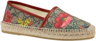 Gucci Pilar Floral GG Supreme Espadrille Flat