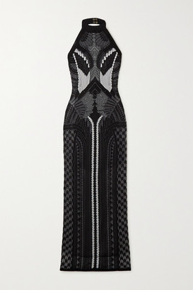 Balmain Jacquard-knit Halterneck Gown - Black